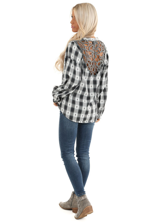 Charcoal Plaid Top with Sage Accents and Crochet Back Detail back side full body