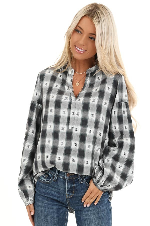 Charcoal Plaid Top with Sage Accents and Crochet Back Detail front close up