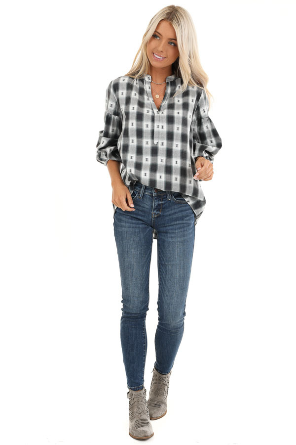 Charcoal Plaid Top with Sage Accents and Crochet Back Detail front full body