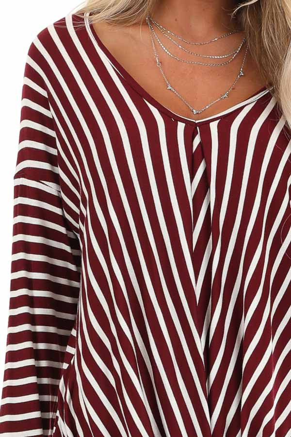 Burgundy and Ivory Striped V Neck Top with Twist Front detail