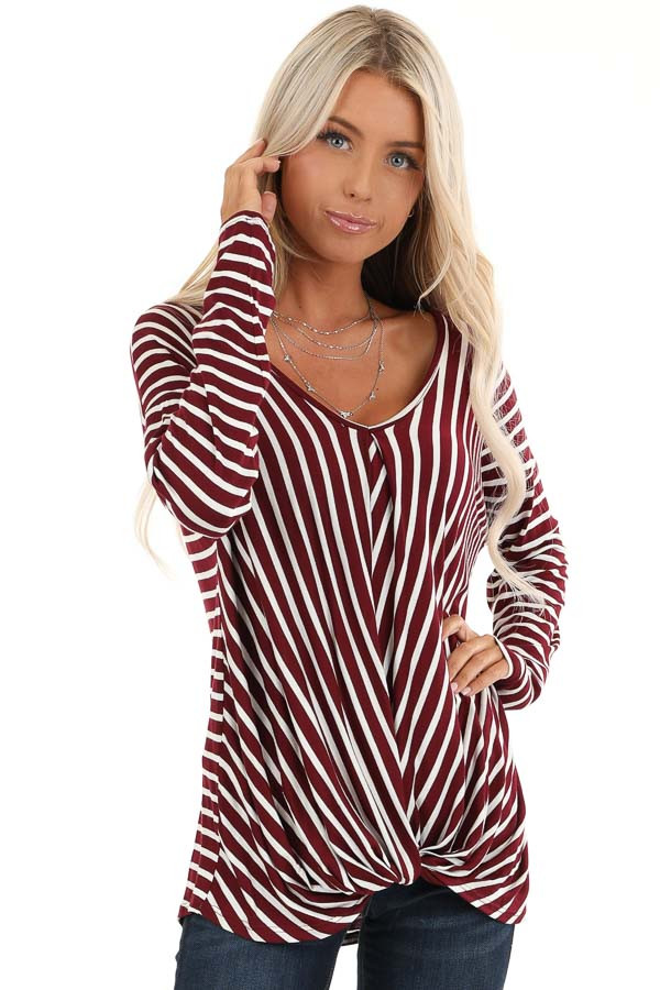Burgundy and Ivory Striped V Neck Top with Twist Front front close up