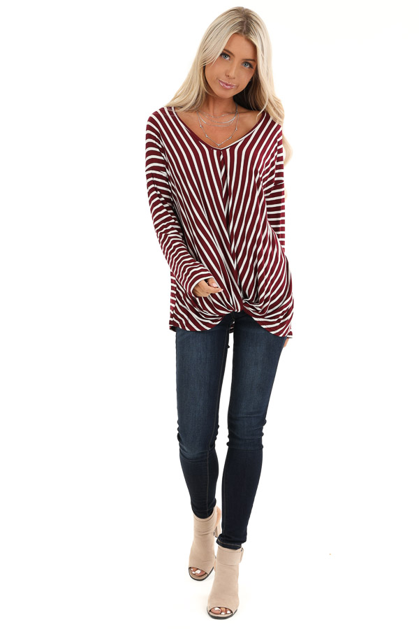 Burgundy and Ivory Striped V Neck Top with Twist Front front full body