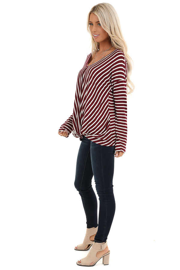 Burgundy and Ivory Striped V Neck Top with Twist Front side full body