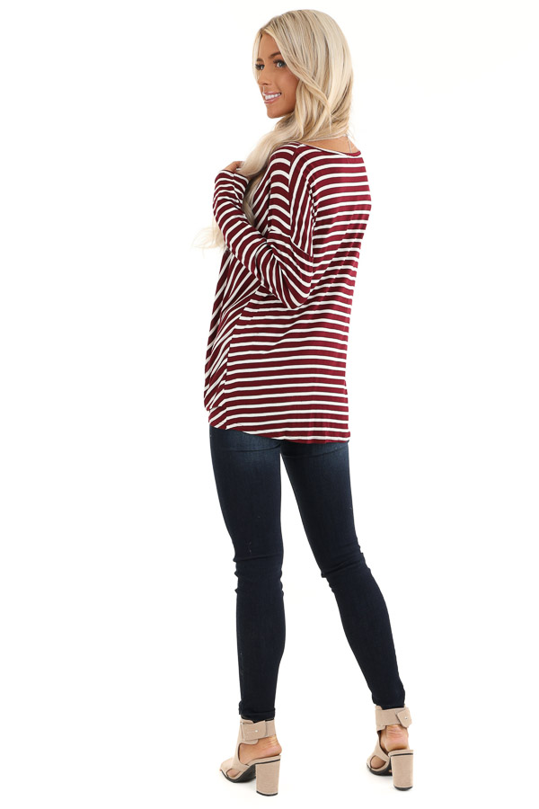 Burgundy and Ivory Striped V Neck Top with Twist Front back full body