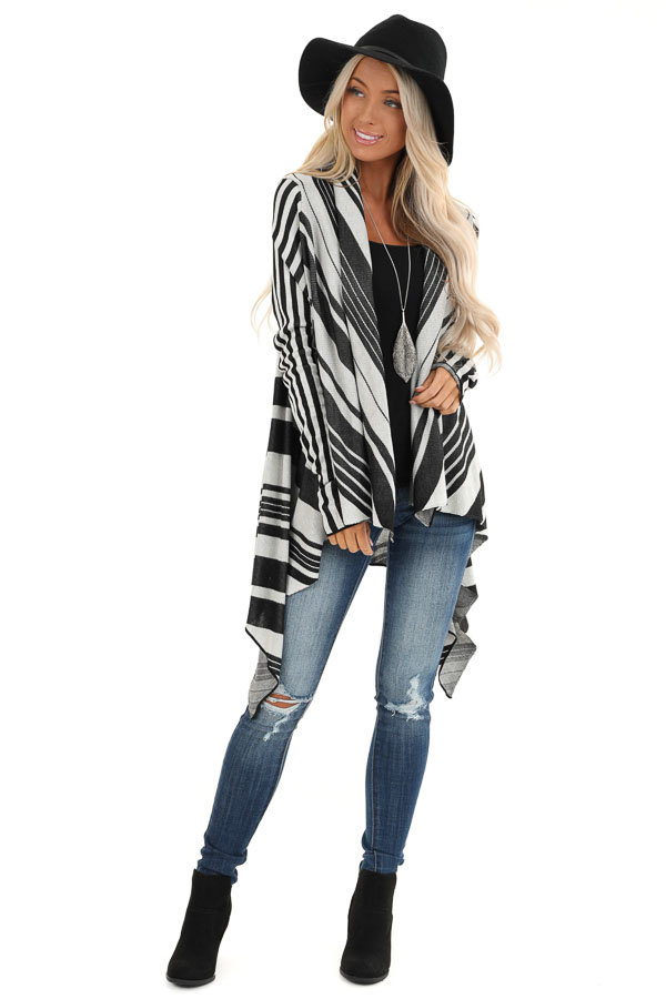 Black and Silver Striped Long Sleeve Draped Cardigan front full body