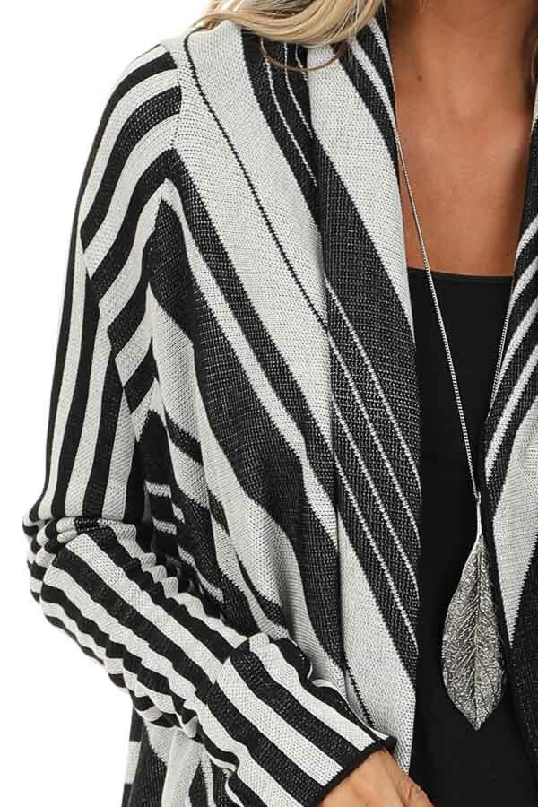 Black and Silver Striped Long Sleeve Draped Cardigan detail