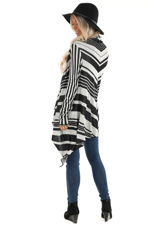 Black and Silver Striped Long Sleeve Draped Cardigan back full body