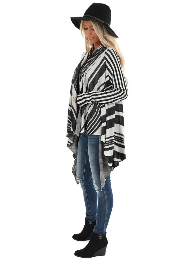 Black and Silver Striped Long Sleeve Draped Cardigan side full body