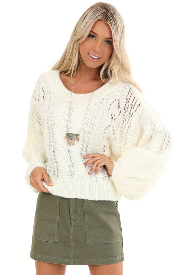 Coconut White Knit Cropped Sweater with Balloon Sleeves front close up