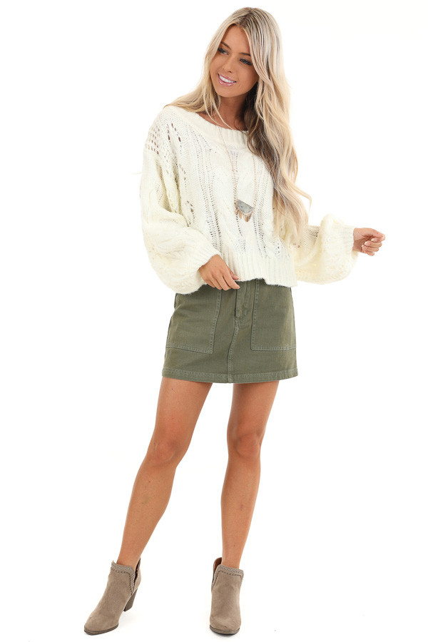 Coconut White Knit Cropped Sweater with Balloon Sleeves front full body