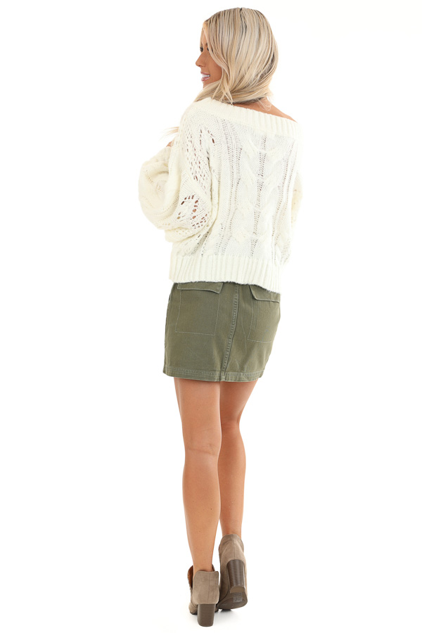 Coconut White Knit Cropped Sweater with Balloon Sleeves back full body