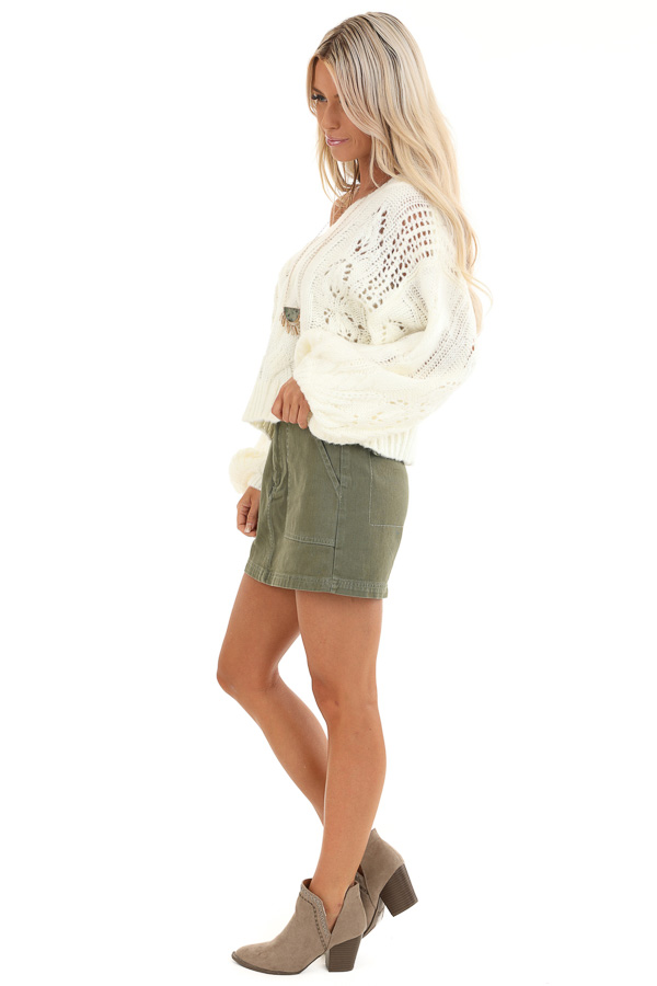 Coconut White Knit Cropped Sweater with Balloon Sleeves side full body