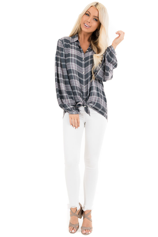 Charcoal Plaid and Lavender Top with Crocheted Back Detail front full body