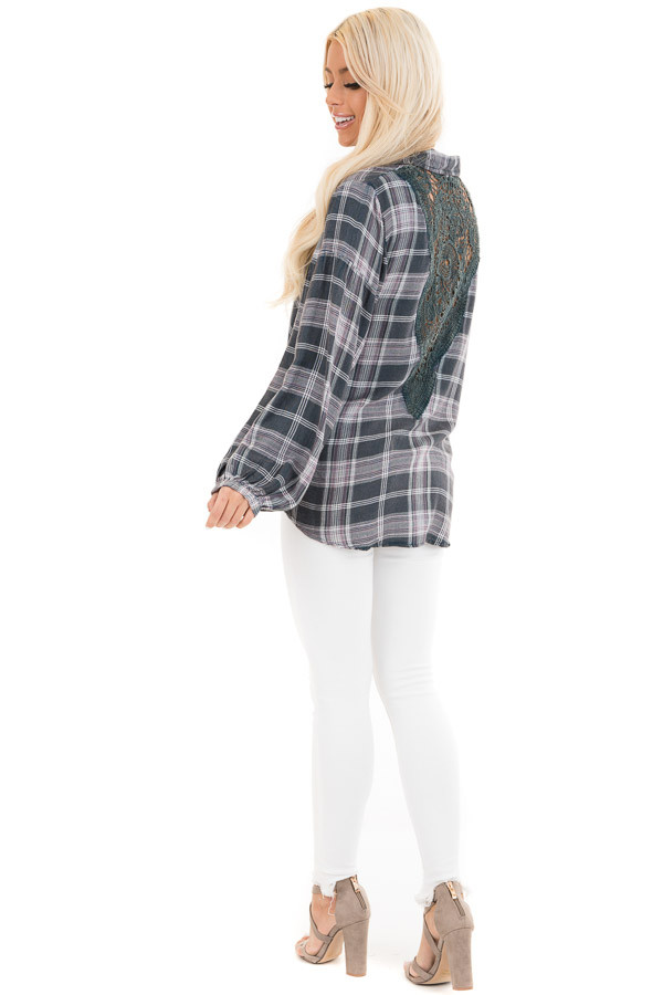 Charcoal Plaid and Lavender Top with Crocheted Back Detail side full body