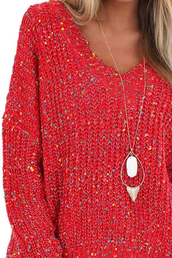 Candy Apple Red Distressed Sweater with Rainbow Dot Details detail