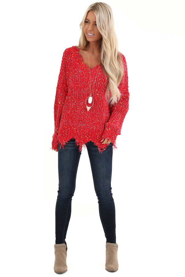 Candy Apple Red Distressed Sweater with Rainbow Dot Details front full body