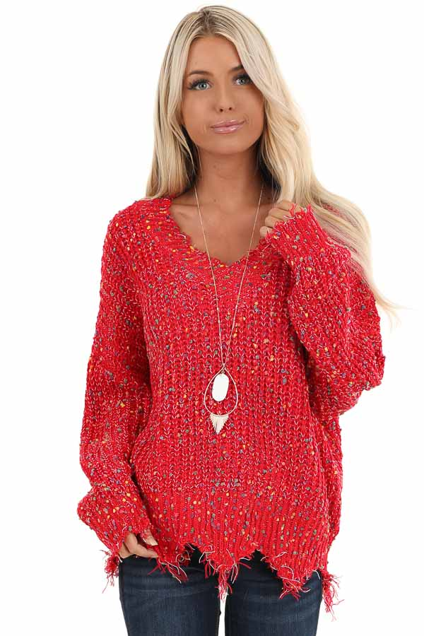 Candy Apple Red Distressed Sweater with Rainbow Dot Details front close up