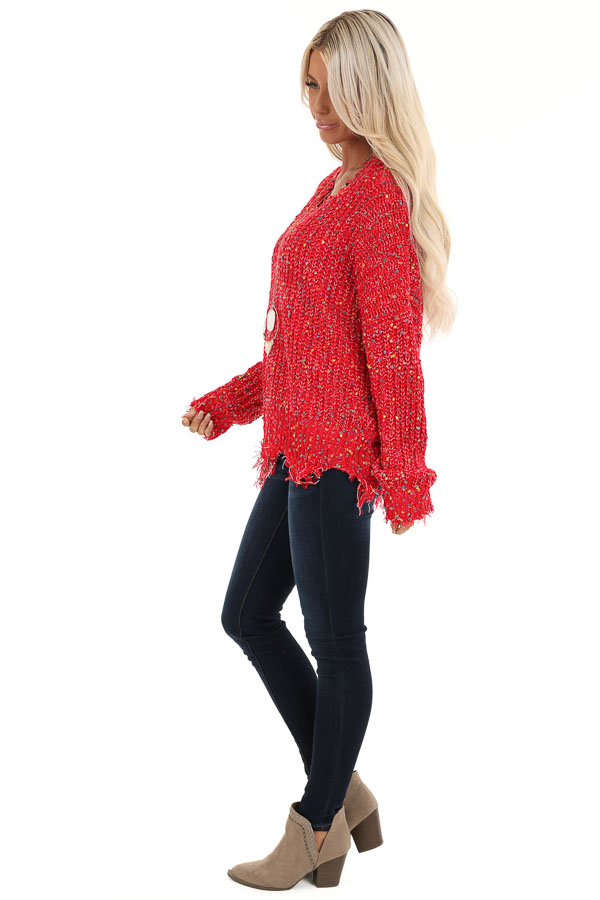 Candy Apple Red Distressed Sweater with Rainbow Dot Details side full body