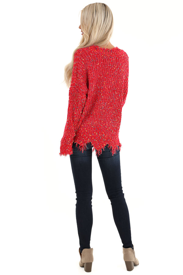 Candy Apple Red Distressed Sweater with Rainbow Dot Details back full body