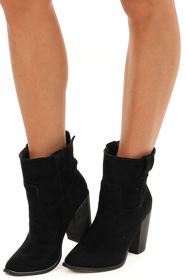 Black Faux Suede Bootie with Stacked Chunky Heel side view