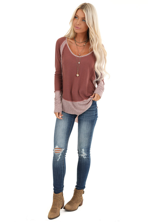 Dark Rose Waffle Knit Top with Long Sleeves front full body