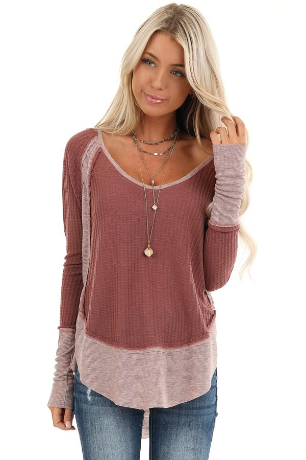 Dark Rose Waffle Knit Top with Long Sleeves front close up