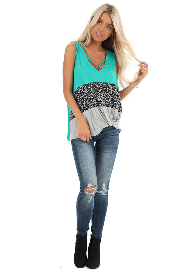 Teal and Leopard Print Color Block Tank with Front Twist front full body