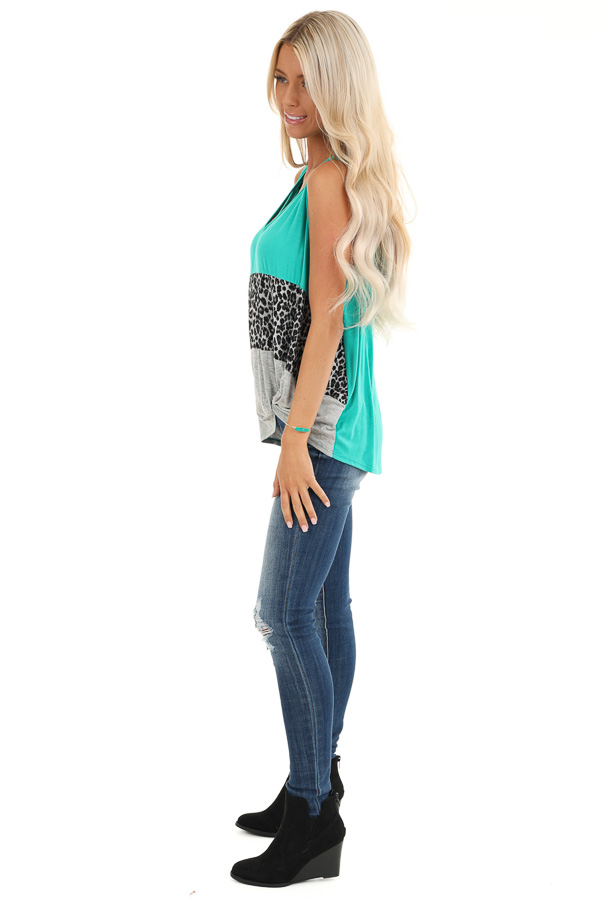 Teal and Leopard Print Color Block Tank with Front Twist side full body