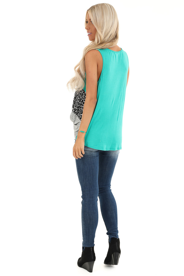 Teal and Leopard Print Color Block Tank with Front Twist back full body