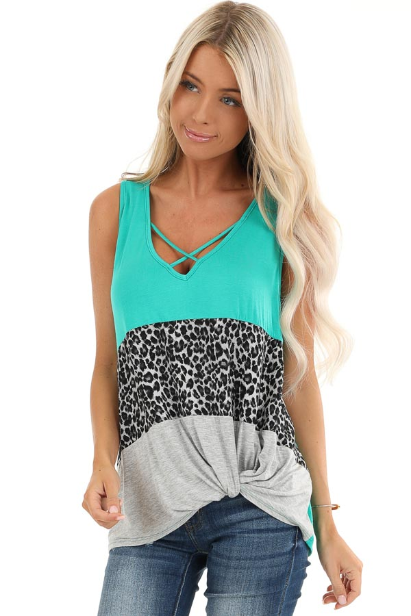 Teal and Leopard Print Color Block Tank with Front Twist front close up