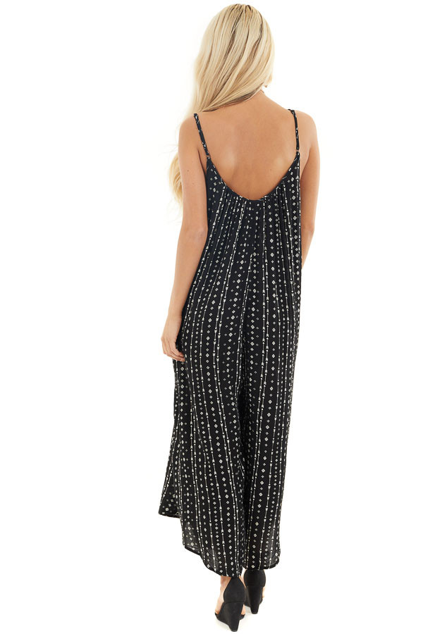Ink Black Oversized Arrow Print Jumpsuit with Side Pockets back full body
