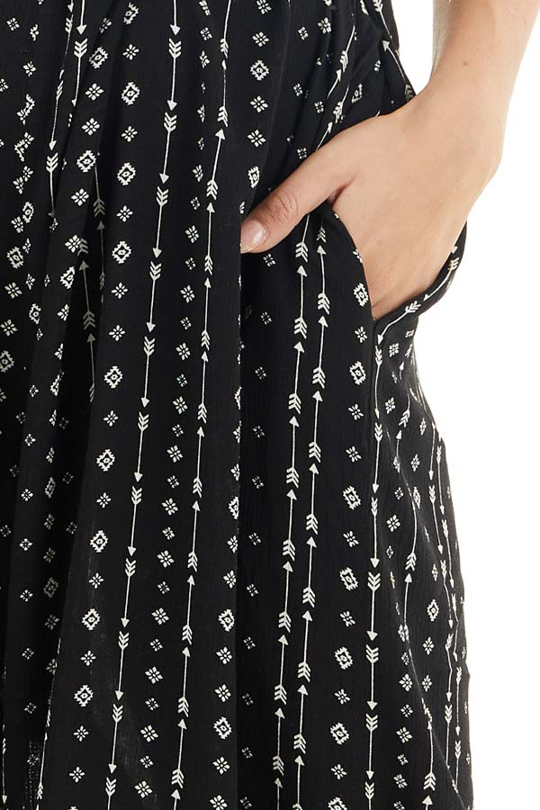 Ink Black Oversized Arrow Print Jumpsuit with Side Pockets detail