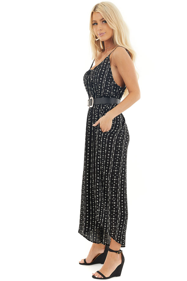 Ink Black Oversized Arrow Print Jumpsuit with Side Pockets side full body