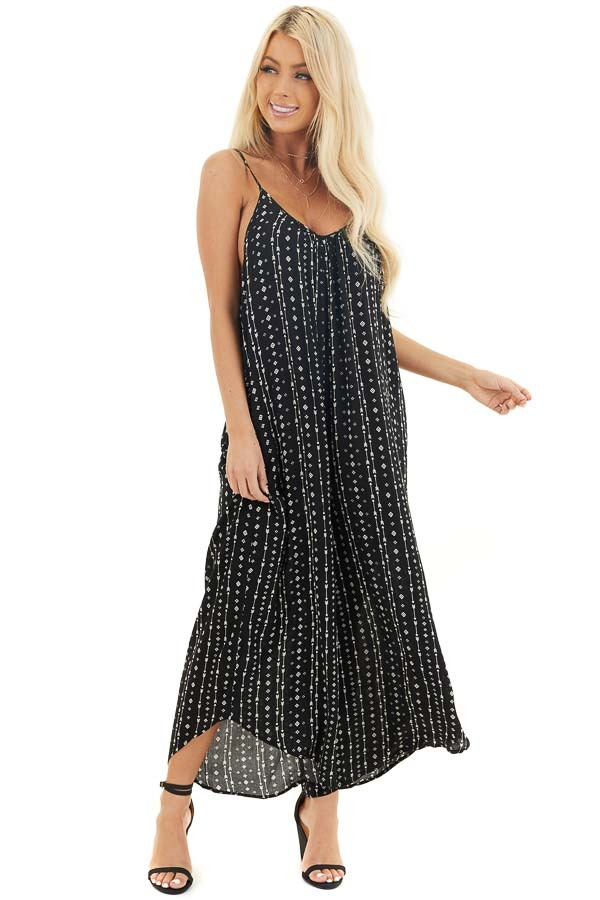 Ink Black Oversized Arrow Print Jumpsuit with Side Pockets front full body