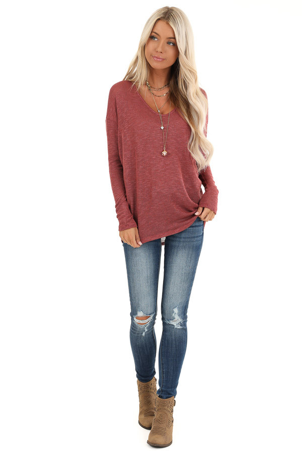 Brick Sheer Knit Top with Long Drop Shoulder Sleeves front full body
