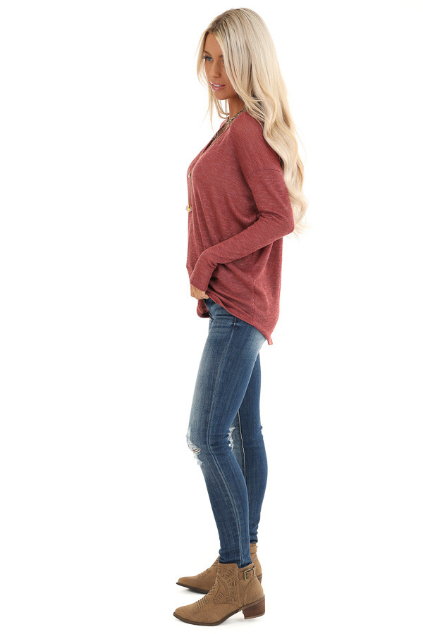 Brick Sheer Knit Top with Long Drop Shoulder Sleeves side full body
