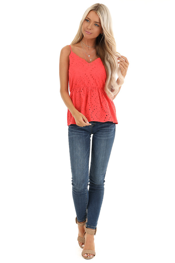Coral Eyelet Lace Spaghetti Strap V Neck Top front full body