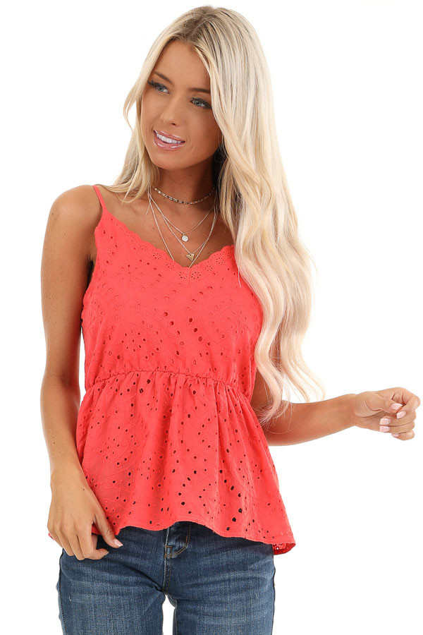 Coral Eyelet Lace Spaghetti Strap V Neck Top front close up