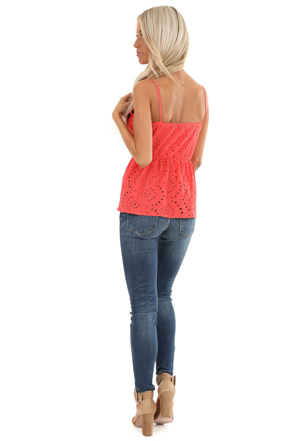 Coral Eyelet Lace Spaghetti Strap V Neck Top back full body