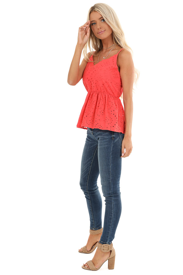 Coral Eyelet Lace Spaghetti Strap V Neck Top side full body