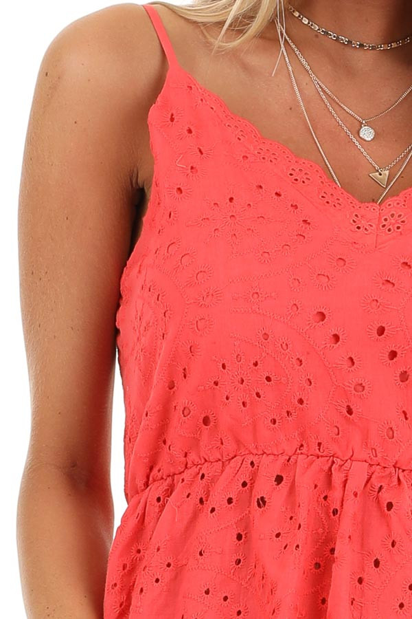 Coral Eyelet Lace Spaghetti Strap V Neck Top detail