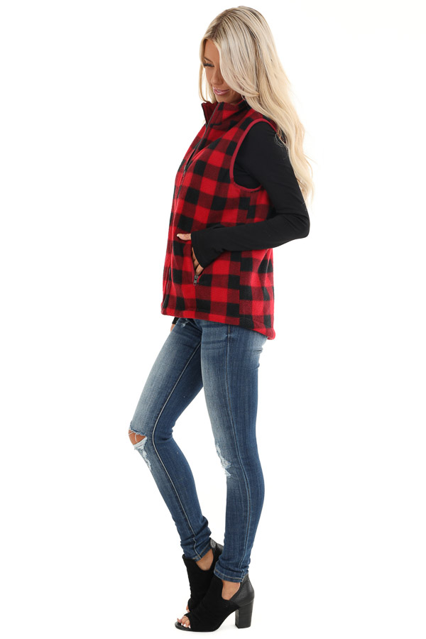 Buffalo Plaid Zip Up Vest with Pocket Details side full body