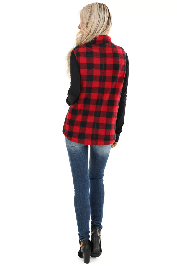Buffalo Plaid Zip Up Vest with Pocket Details back full body