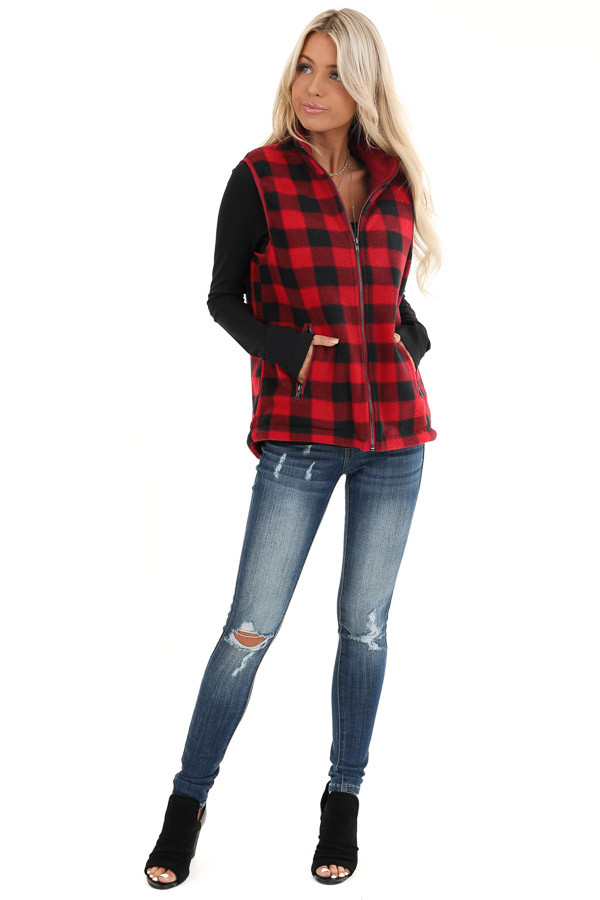 Buffalo Plaid Zip Up Vest with Pocket Details front full body