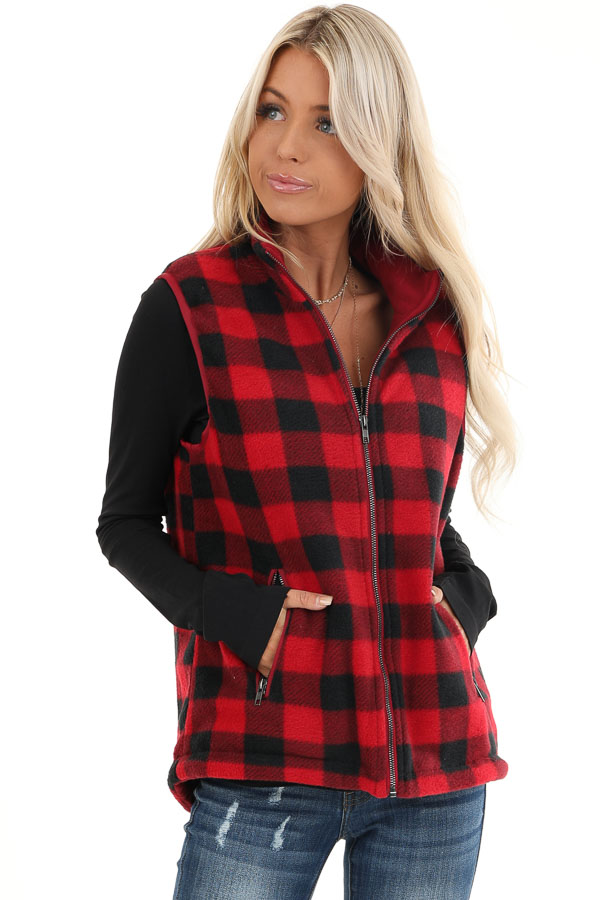 Buffalo Plaid Zip Up Vest with Pocket Details front close up