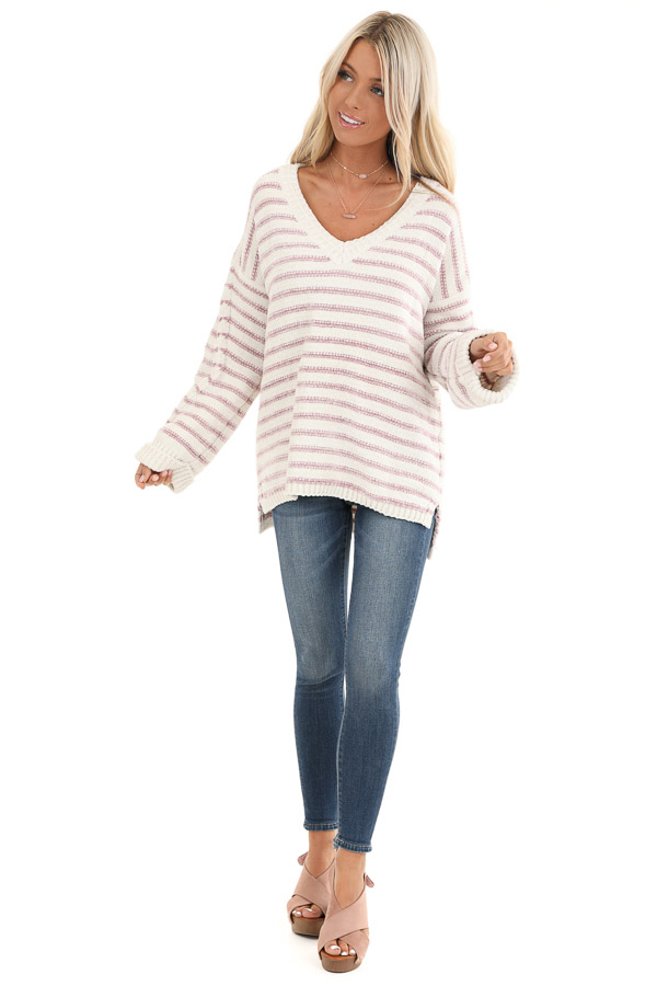 Ivory and Blush Striped Super Soft Knit Sweater front full body