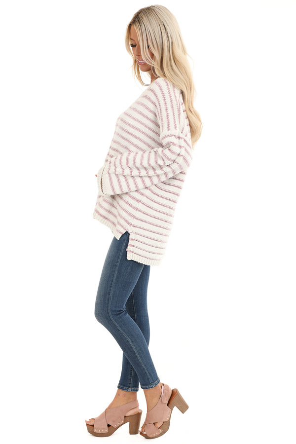 Ivory and Blush Striped Super Soft Knit Sweater side full body