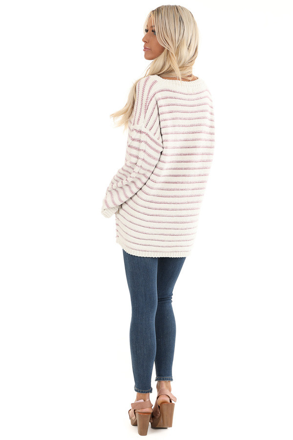 Ivory and Blush Striped Super Soft Knit Sweater back full body