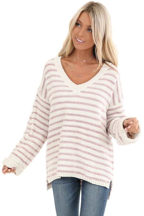 Ivory and Blush Striped Super Soft Knit Sweater front close up