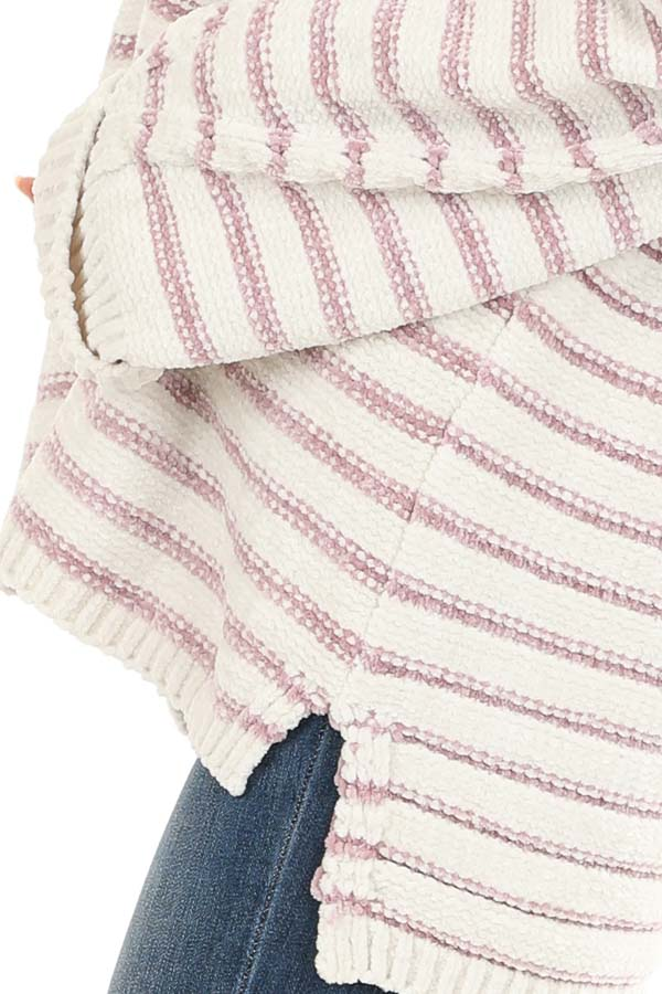 Ivory and Blush Striped Super Soft Knit Sweater detail